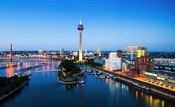 The Düsseldorf TV tower can be seen from the Centro Hotels.